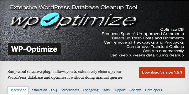 Wordpressプラグイン:wp optimize